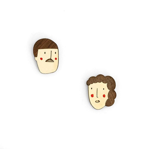 Pendientes madera him her caras hombre mujer miriam frank materia rica handmade in spain