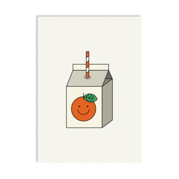 Zumo de naranja postal postcard red fries cute orange juice