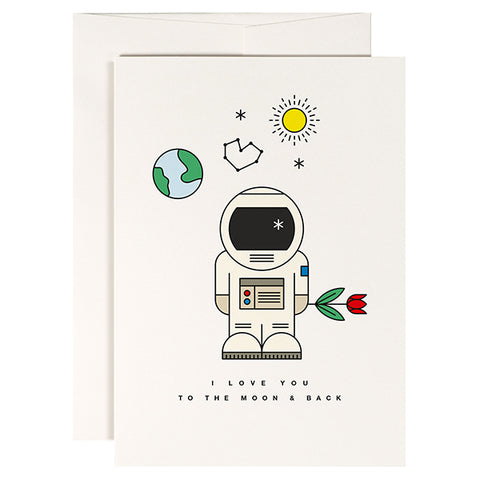 "Tarjeta de amor con sobre con una ilustración de un astronauta con una flor y el texto: ""I love you to the moon and back"""