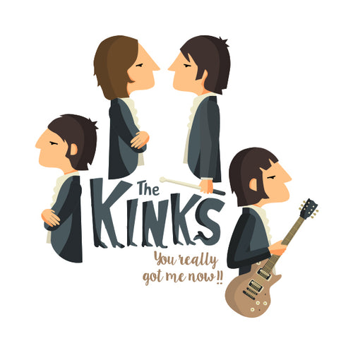 Ilustración de la banda inglesa The Kinks en su disco You really got me now de la artista valenciana Tutticonfetti