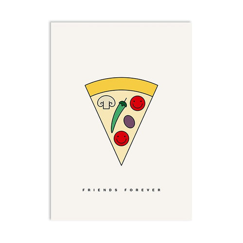 Postal Pizza postcard friends forever amistad friendship