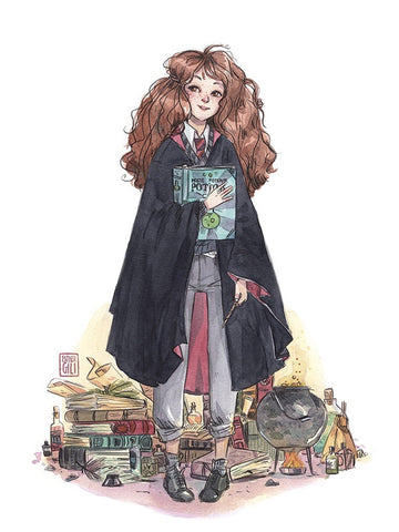 Ilustración Esther Gili Print Hermione Harry Potter magia Hogwarts Rowling