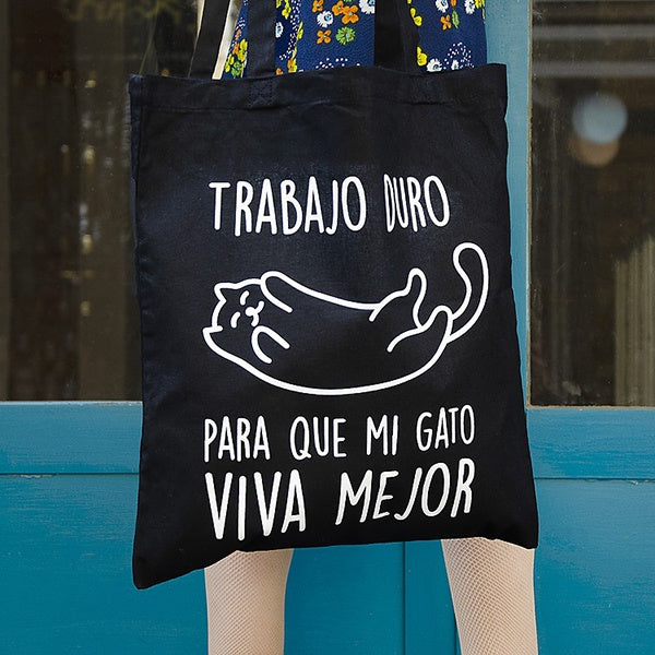 Bolsa gato trabajo tote bag tela miss miserable humor