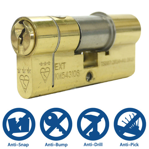 Kinetica 3* Cylinder Lock - Key to Key (5 Keys Included) - FIGHT BACK HOME SECURITY