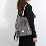 Logo stamped PU leather trim nylon backpack