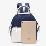 PU leather trim nylon backpack