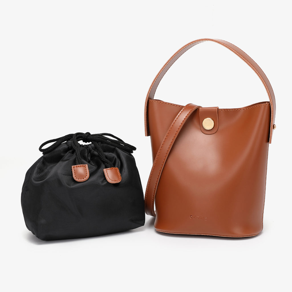 Studded PU leather 2-in-1 bucket bag