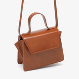 Top handle boxy PU leather crossbody bag