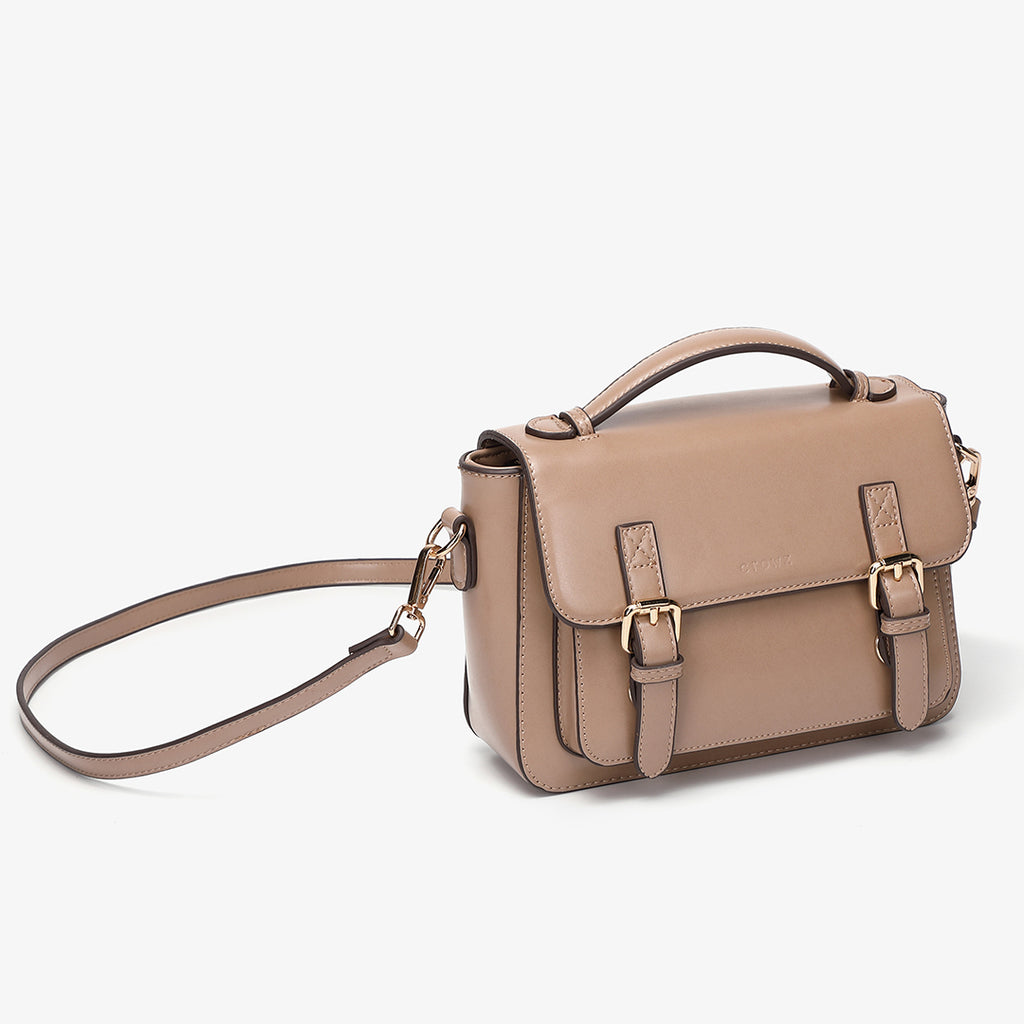 Buckled strap PU leather satchel bag