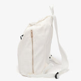 Buckle strap folded corners canvas backpack