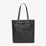 Creased PU leather shopper bag
