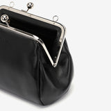 Kiss-lock PU leather crossbody bag