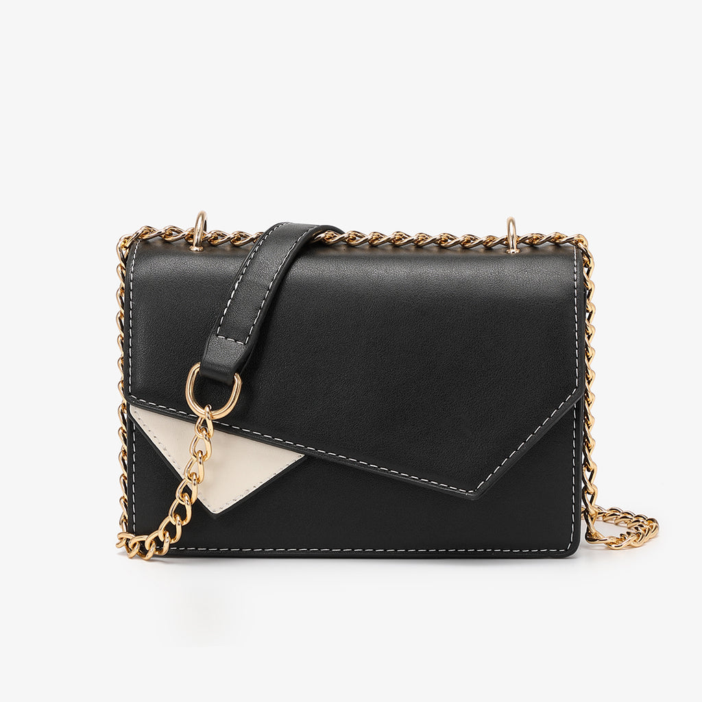 Asymmetric geometric colourblock crossbody bag
