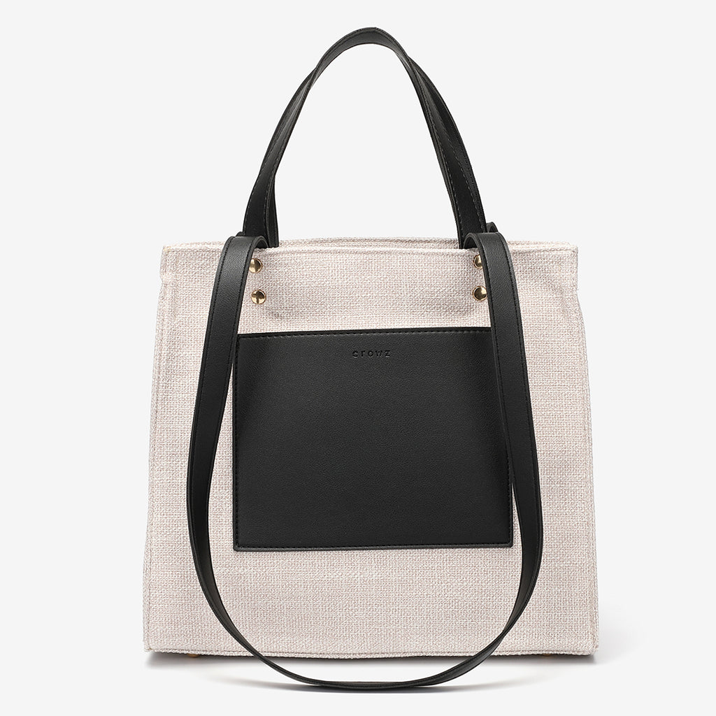 PU leather front pocket canvas tote