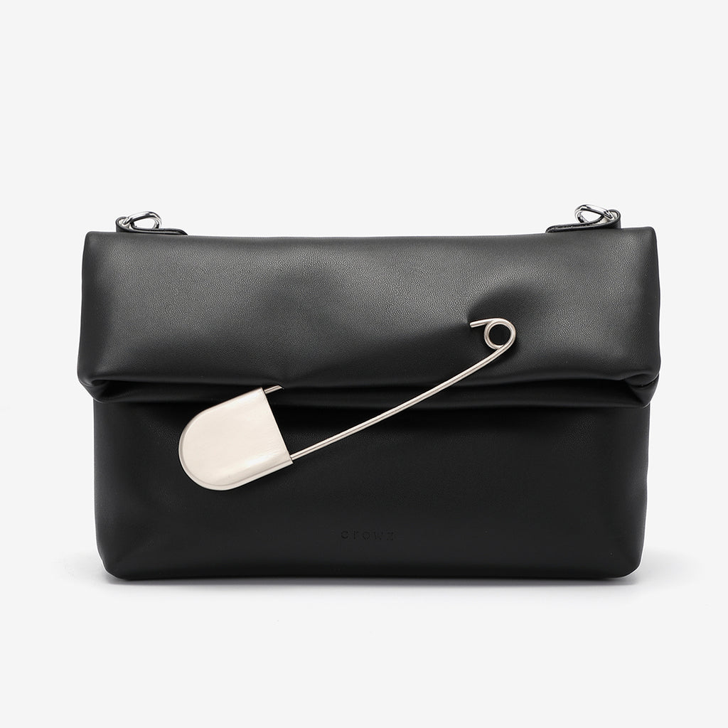 Safety pin embellished flap crossbody bag