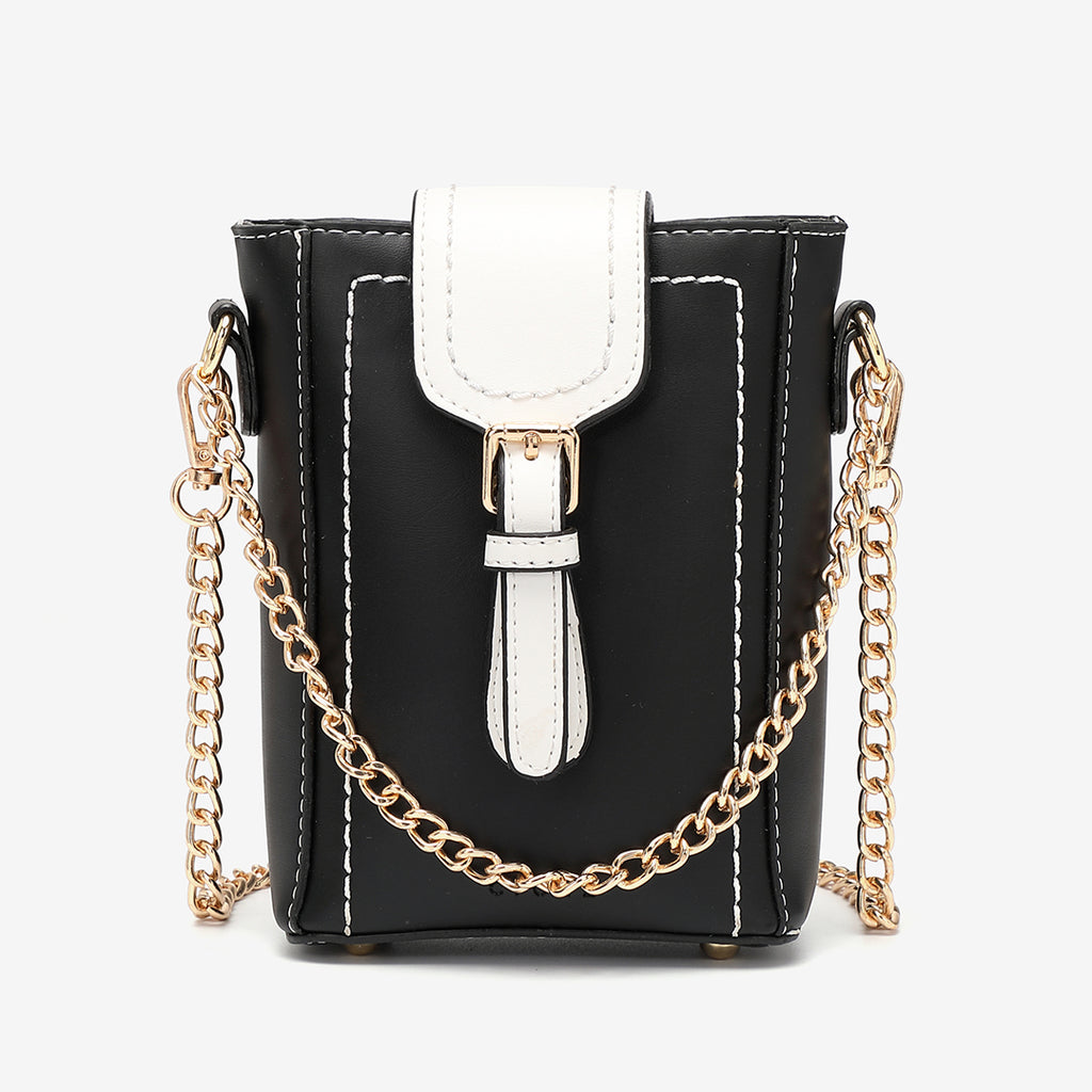 Buckle flap chain strap PU leather crossbody bag