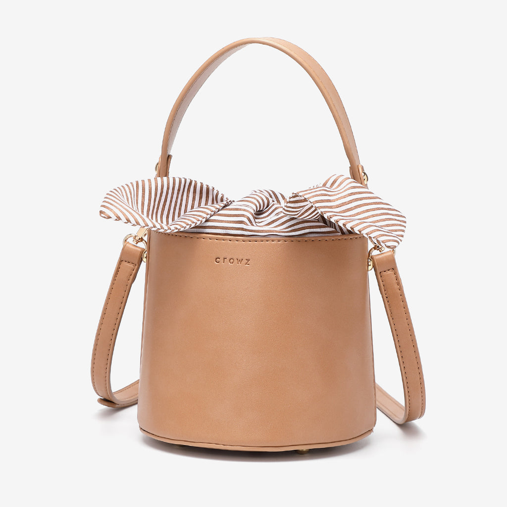 Striped canvas interior PU leather bucket bag