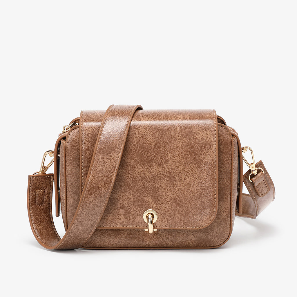Loop turn lock boxy crossbody bag