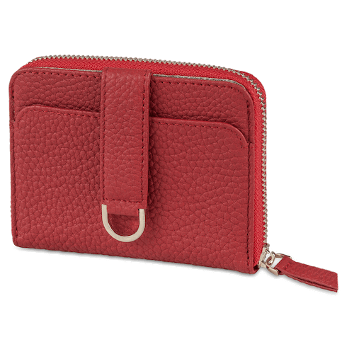 slim leather zip wallet for women with RFID protection - Vaultskin Belgravia in Red