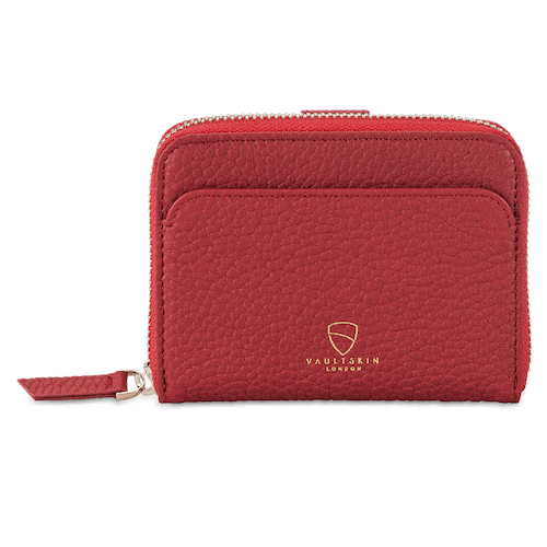 red slim leather wallet for women with zip and rfid blocking