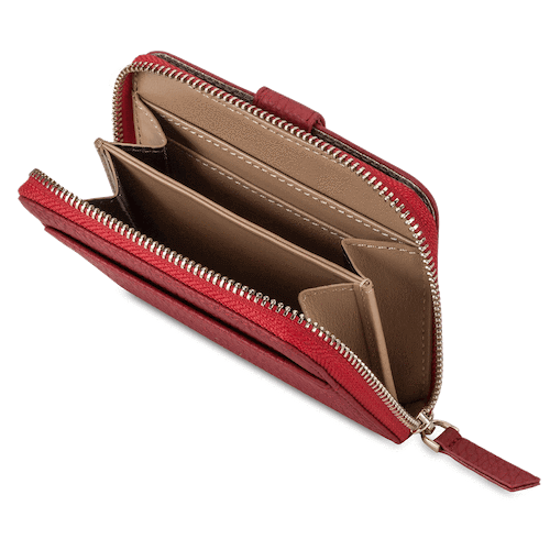 red zip around small leather wallet for women with gold plated pull up strap