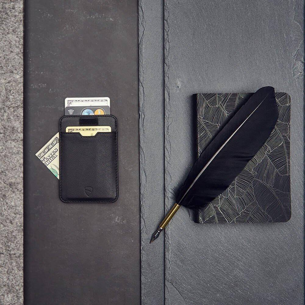 black leather wallet, rfid wallet blocking cards - Vaultskin CHELSEA in Black