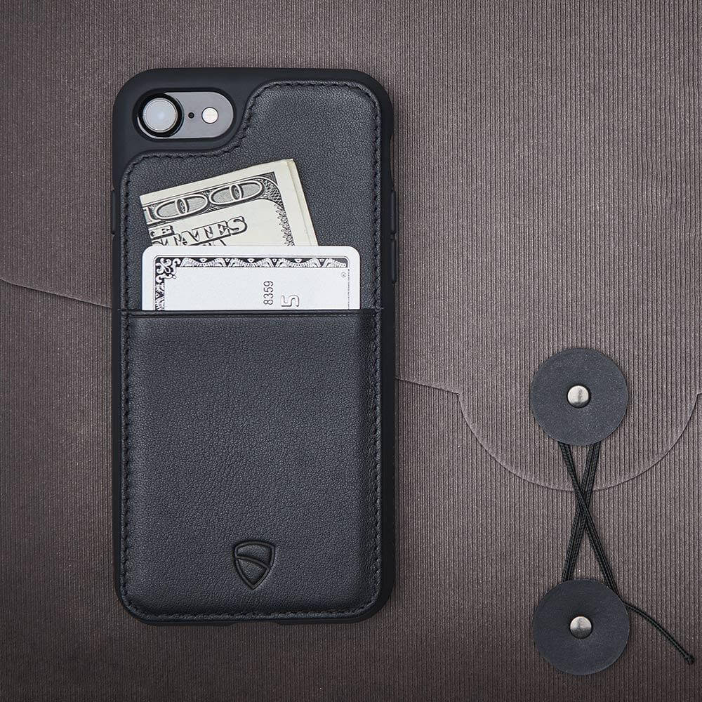 Minimalist iPhone case with card holder made from Italian leather