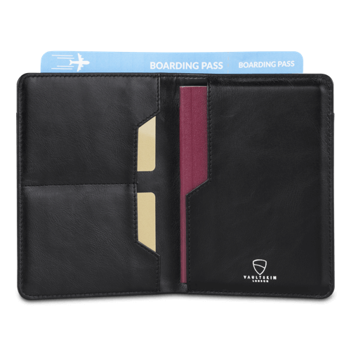 black passport holder with wallet and rfid blocking