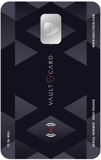 VAULTCARD protects RFID credit and debit cards from electronic pickpocketing. Effective against all modern RFID/NFC systems operating at 13.56MHz