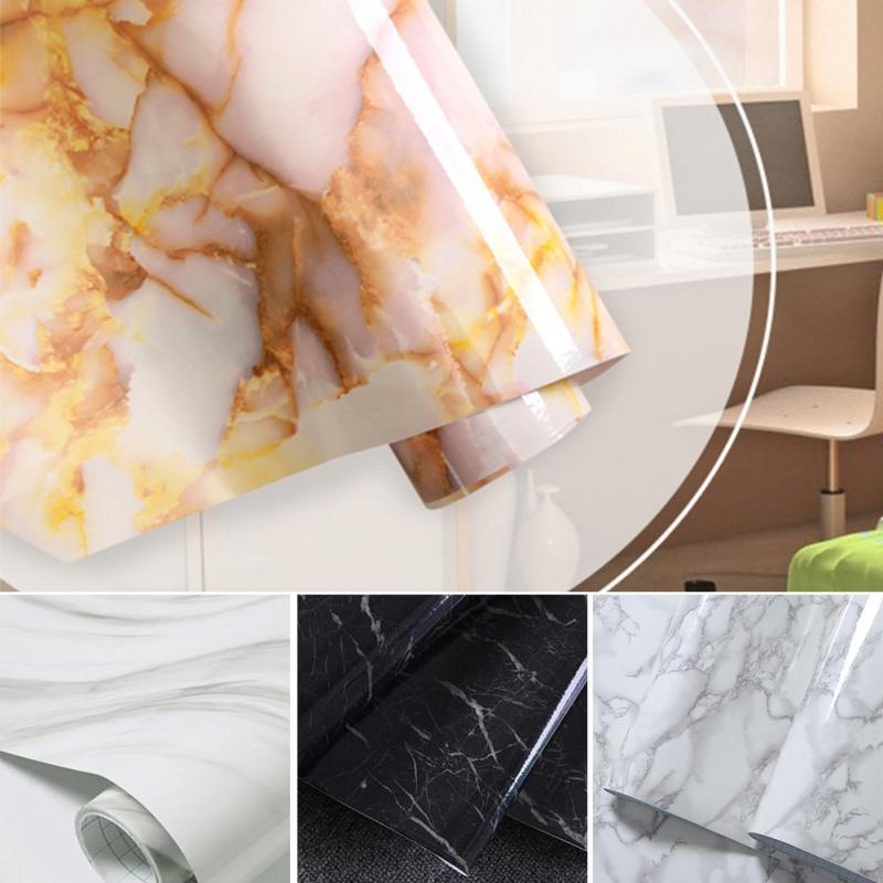 60*50cm DIY Vinyl Glossy Marble Sticker Film Kitchen Cabinet Countertop Self adhesive Sticker Wallpaper Home Decor Wall Sticker