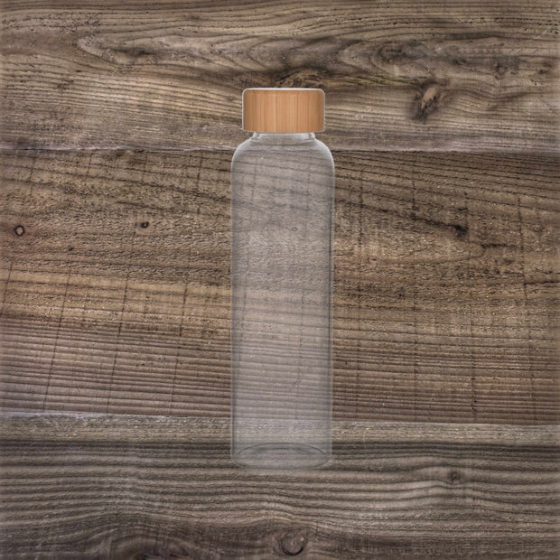 Bottle with Bamboo Lid - Glass