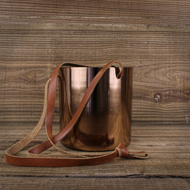 Copper Planter with Leather Strap