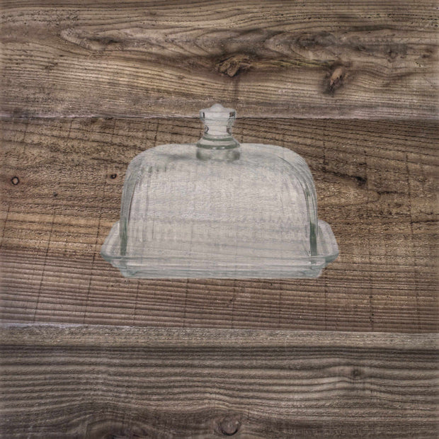Cornbury Pressed Glass Butter Dish
