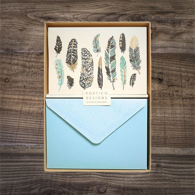 Feathers Boxed Notecards