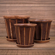 Felina Pot w/saucer Brown