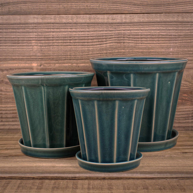 Felina Pot w/saucer Green