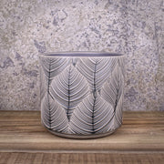 Grey Leaf Pot Ceramic