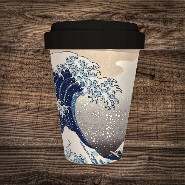 Hokusai Wave Bamboo Travel Mug