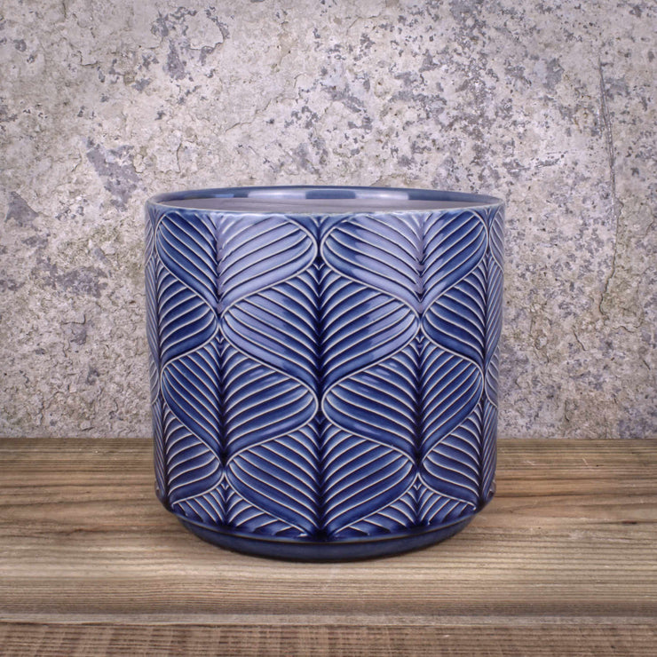 Navy Wavy Pot Ceramic