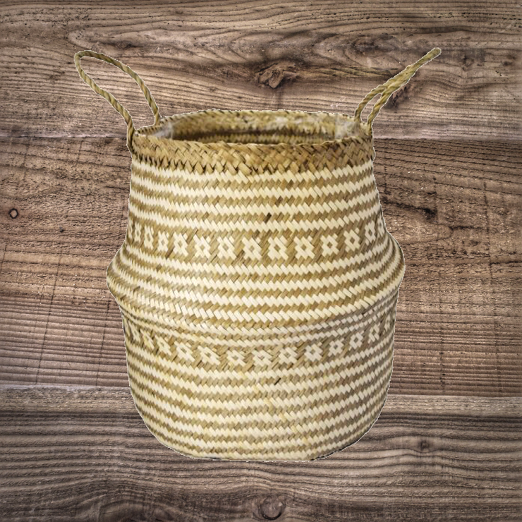 Seagrass Tribal White Lined Basket