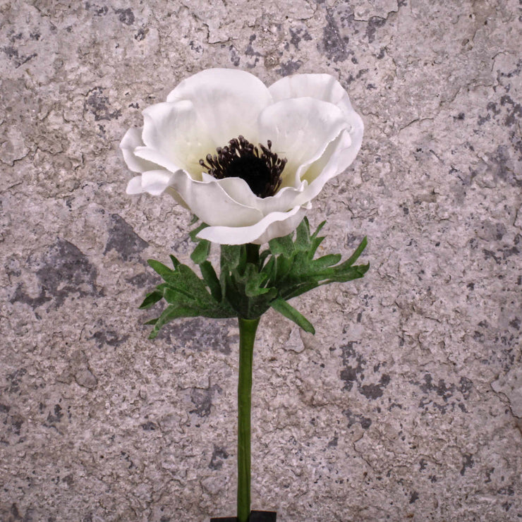 Faux White Anemone Spray