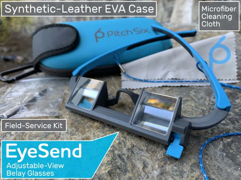 The EyeSend belay glasses come with a Synthetic Leather EVA case and a field service kit.