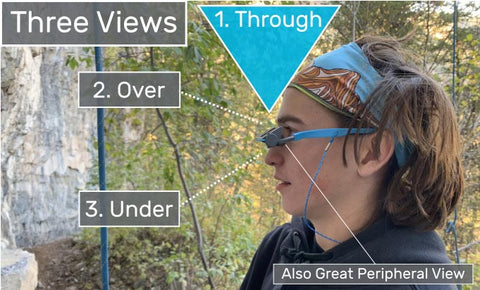 The EyeSend belay glasses have three view; through, over, and under.