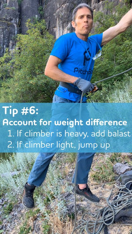 Account for weight differences when lead belaying