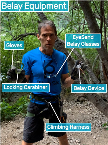 Belay Equipment  used for rock climbing, gloves, belay glasses, locking carabiner, climbing harness and belay device