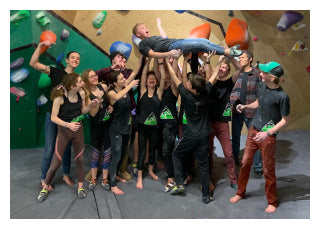 Matt Cupal with Elevation Rock Gym's climbing team