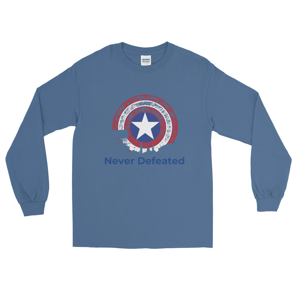 "Mens"" Never Defeated"" Long Sleeve T-Shirt"