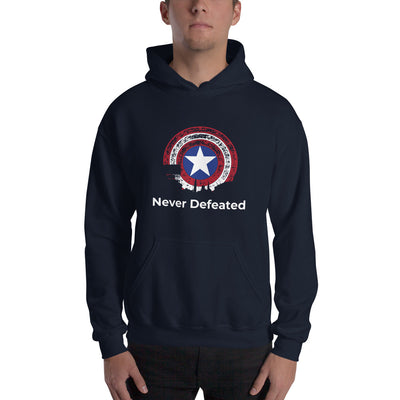 "Mens ""Never Defeated"" Hooded Sweatshirt"