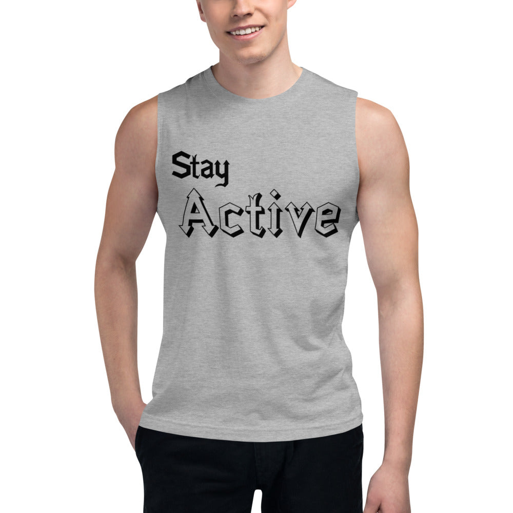 Stay Active Slogan Printed Muscle Tank Tops
