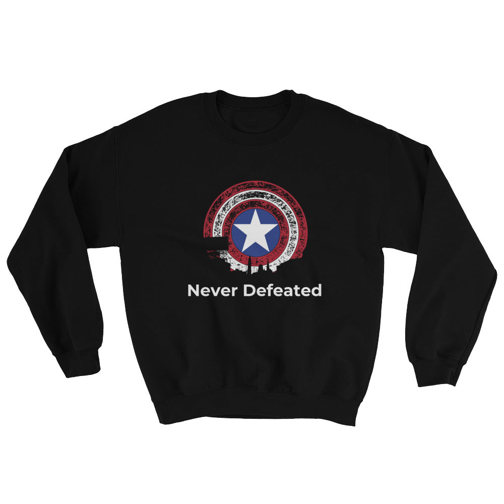 """Never Defeated"" Long Sleeve Sweatshirt-Degree T Shirts"